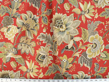 Drapery Upholstery Fabric Linen Floral Outline in Metallic Gold - Orange-Red