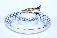 Russian Imperial Lomonosov Porcelain Dish for Caviar / Ikornitsa Cobalt Net Gold