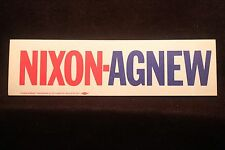 "Richard Nixon/Spiro Agnew Bumper Sticker ""Unused"" EXCELLENT"