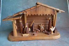 WOODEN Carved Christmas Nativity Creche All In One Set