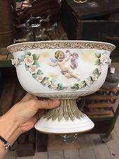 Vintage Large Pedestal Bowl Vase Urn Stand Cherub Flowers Japan 17cm H #1