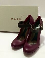 =QUIRKY= MARNI Deep Red Jelly Rubber Mary-Janes Leather Strap Heels Shoes US9