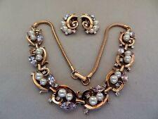 Wonderful CROWN TRIFARI Faux Pearl & Lavender Rhinestone Necklace Set