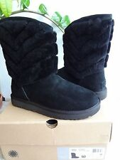 UGG Tania Suede/Sheepskin Boots in Black Women 10 (Brand New) Free Shipping