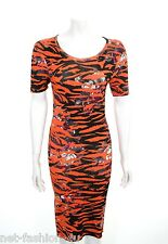 MCQ BY ALEXANDER McQUEEN CAP SLEEVE JACQUARD TIGER FLORAL DRESS SIZE S BNWT