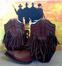 WOMENS CORRAL LD TAN FRINGE AND WHIP STITCH ANKLE WESTERN BOOTS SIZE 7 NIB