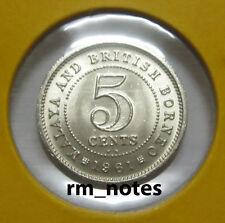 """MALAYA & BRITISH BORNEO  Q.Elizabeth II 5cents coin 1961KN(Key Date) """"BU"""""""