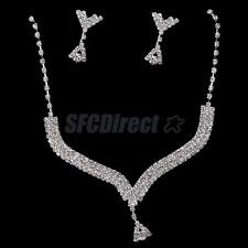Bridal Bridesmaid Wedding Party Crystal Rhinestone Necklace Earrings Jewelry Set
