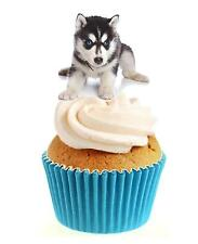 Novità Carino HUSKY PUPPY 12 commestibili alzarsi Wafer Carta DECORAZIONI PER TORTA DOG