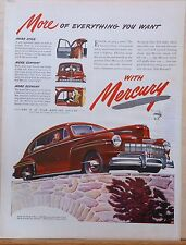 Vintage 1946 magazine ad for Mercury -red 2-door car in autumn