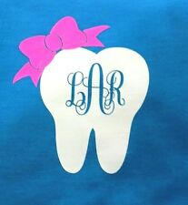 DIY Iron On Tooth Monogram with Bow You Pick Bow Color & Font Style - SHIPS FREE