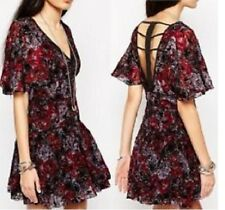 FREE-PEOPLE PERFECT DREAM VELVET BOHO FLORAL BERRY COMBO DRESS Sz. 6 NWT $148