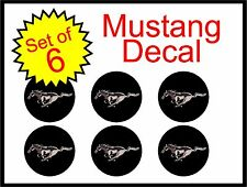 "Ford Mustang 2.5"" black 6pc Replacement Decal Sticker center cap hub wheel logo"