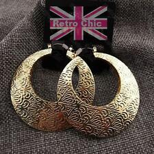 5cm BIG CREOLE HOOPS embossed pattern GOLD PLATED hoop FASHION EARRINGS creoles