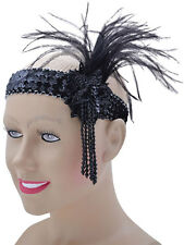 Black Sequin Feather Headband Flapper Charleston 1920's Fancy Dress Gatsby New