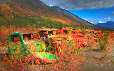 Framed Print - Row of Colourful Rundown Beat Up old Trucks (Picture Poster Cars)