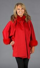 Red 100% Pure Cashmere Hooded Cape With Fox Fur Trim, SALE