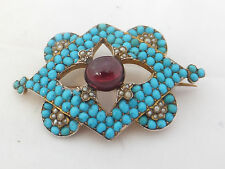 Gold cased natural seed Pearl,Turquoise & garnet large & heavy Victorian brooch
