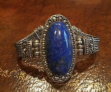 Beautiful Sterling Silver Indonesia 925 Bracelet Large Oval Blue Lapis Stone