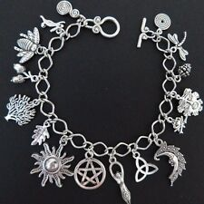Wicca Pagan Spiral of Life Charm Bracelet - 16 Wicca Charms