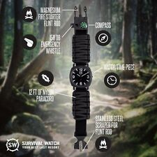 NEW Survival Watch Military Grade Paracord, Compass, Fire, Whistle SharpSurvival