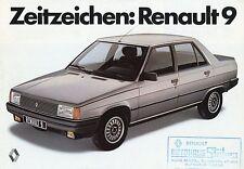 Renault 9 Prospekt 4 S. brochure 1982 Auto PKWs Autoprospekt Frankreich Europa