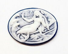 6 of 25x18 mm Horizontal White over Dark Blue Large Art Deco Nude Mermaid Cameos