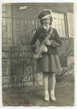 PHOTO YOUNG LADY NAMED DUTCHIE W/ SAXOPHONE IN BAND UNIFORM HAT SAYS PERRY