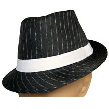 Black Fedora With White Pinstripes Hat Adult Gangster Roaring 20's Stripe New