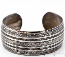 Antique Vintage Art Deco Sterling Silver Oak Leaf Leaf & Vine Cuff Bracelet!