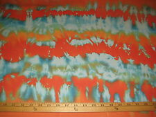 "Aqua Orange Tie Dye Ombre 100% Polyester High Multi Chiffon Fabric 58"" W BTY"