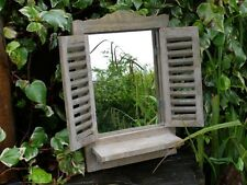 Shabby Chic Garden Mirror Window 46CM French country aged look Brown Wash shelf