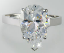 4 ct Pear Ring Vintage Brilliant Top Russian CZ  Moissanite Simulant SS Size 6
