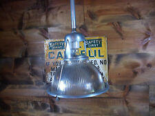 "Vintage Industrial 12"" Holophane Pendant Light Old Steampunk Factory"