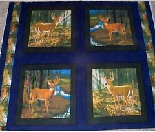4 Deer Big Buck Pillow Panels Fabric Cotton Wildlife
