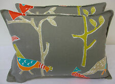 2 FABULOUS CUSHION COVERS IN HARLEQUIN SCION PASSARO CORAL/PEWTER
