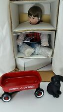 Radio Flyer Billy Danbury Mint Red Wagon Porcelain Collectors Doll Dog New