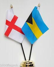 England & Bahamas Double Friendship Table Flag Set