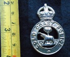 Obsolete Gold Coast police cap / hat badge . Large pattern. Chromed . Rare .