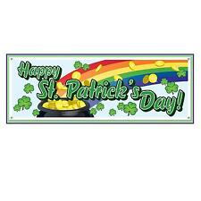 HAPPY ST PATRICK'S DAY JUMBO SIGN BANNER PARTY DECORATION RAINBOW POT OF GOLD