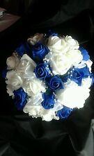 Ramo de novia Royal Blue & White cortados cinta de abalorios