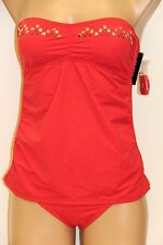 NWT Guess Swimsuit Tankini 2pc set  Sz L Bandini Red Strap