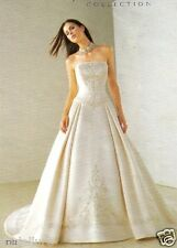 $1499 NEW JASMINE BRIDAL 12 IVORY SATIN STRAPLESS A-LINE BALL GOWN WEDDING DRESS