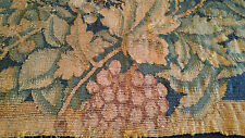 European antique hand made patched mended tapestry fragment grape leaves flower