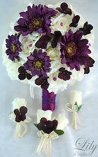 17 Piece Package Silk Flower Wedding Bridal Bouquet Maid Daisy PLUM PURPLE IVORY