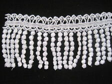 "Vintage Venise lace Fringe trim White Rayon Price for 108'' x 3""  3yd #1507"