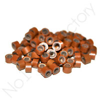 New 200pc Hair Extension Silicone Micro Rings/ Links COLOUR Tan Brown 5mm