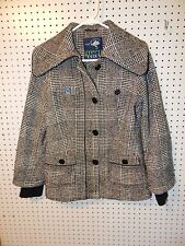 Womens green with envy wool winter jacket - black gray white - large