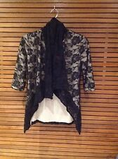 Black Lace and Cream Floral Cropped Sleeve Jacket - Size 8