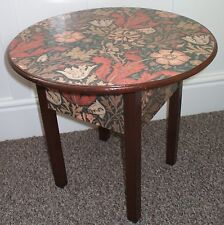 VINTAGE ROUND WOODEN SEWING/STORAGE TABLE - WILLIAM MORRIS 'COMPTON' DECOUPAGE